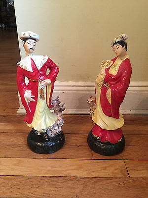 Large Porcelain Ceramic Chinese Asian Hand Painted Figures Figurines Man & Woman