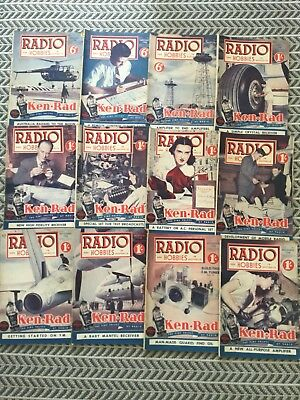 RADIO AND HOBBIES 12 Magazines 1948 Vintage Collectables