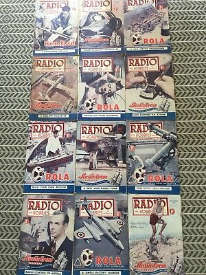 RADIO AND HOBBIES 12 Magazines 1950 Vintage Collectables