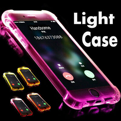 LED Flash Lighting Armor TPU Case Clear Incoming Call Cover For iPhone 7 8 8P XR