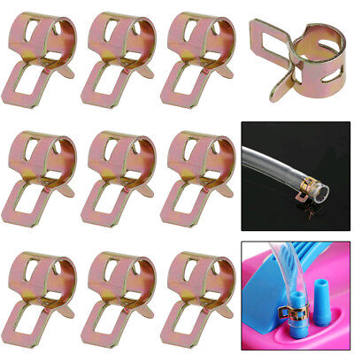 Useful 10Pcs 8mm Spring Clip Fuel Line Hose Water Pipe Air Tube Clamps Fastener