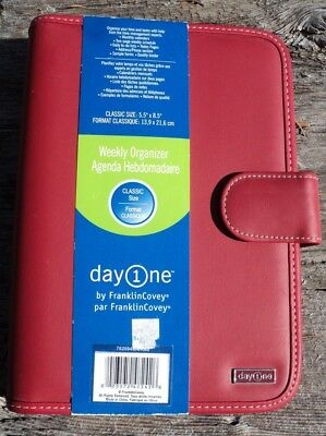 Franklin Covey Classic Organizer Planner Red NO PAGES Portfolio Only 7 Ring New