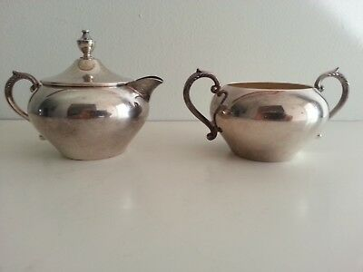 "Vintage Silver On Copper Lidded Creamer And Sugar Bowl 5"" Long 2.5"" Wide 3"" Tall"