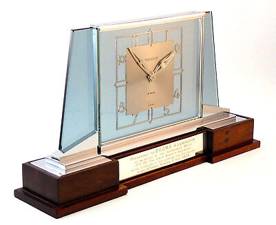 c1939, OUTSTANDING JAEGER LeCOULTRE ART DECO CHROME AND GLASS DESK MANTLE CLOCK