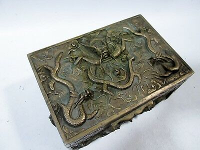 Antique Chinese Bronze High Relief Dragons Box