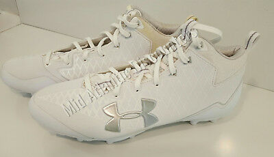 Display Model Under Armour Mid MC Cleats 1278770-100 Size 9.5 Football Lacrosse