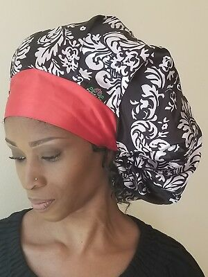 b3568a40e1588a Satin Lined Cap Bouffant Sleep Hair Bonnet with Wide Adjustable Band - 2  Colors