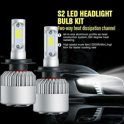 Car H7 Low Beam High Power LED Headlight Bulbs Kit 200W 30000LM 6500K  White