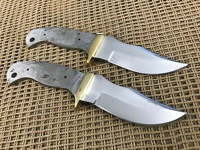 Lot of 2 Stainless Steel Modified Clip Point Knife Making Supplies Blank