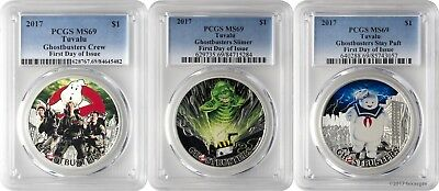 2017 $1 Tuvalu Ghostbusters Crew Slimer Stay Puft 3 Silver Coin Set PCGS MS69 FD