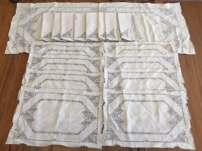 Madeira Hand Embroidery 17 Pc Set Placemats 8 Napkins Table Runner Vintage
