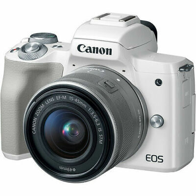 Canon EOS M50 Mirrorless Digital Camera - White with 15-45mm Lens