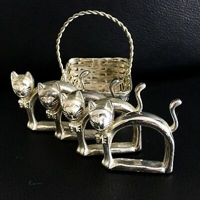 Set Of 4 Antique Silver Cat Napkin Holders