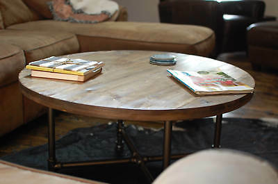 Round Coffee Table Reclaimed Wood Furniture Pipe