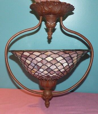 Quoizel Collection Tiffany Style Stained / Leaded Glass Ceiling Light Fixture
