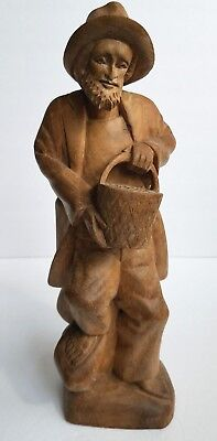 Man Carrying Bucket Hand Carved Wood Figure Statue Vintage Wooden Outsider Art