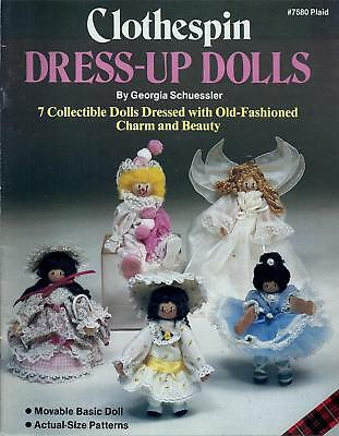 Vintage Clothespin Dress-Up Dolls Pattern Booklet Georgia Schuessler - Plaid