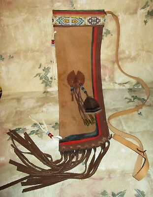 Older Beaded Native American indian Ceromonial? Painted Hide QUIVER