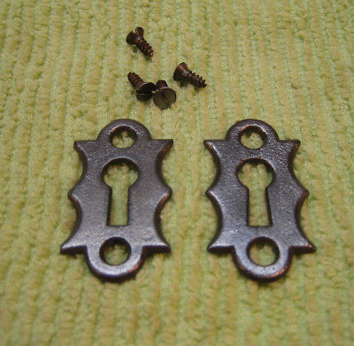 Old Antique Fancy Cast Iron Keyhole Escutcheons Mortise Lock Key Hole Covers