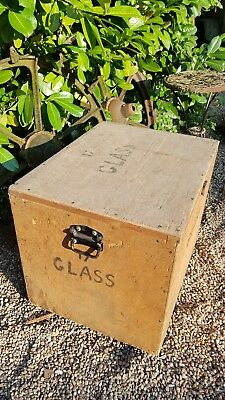 Large industrial tea chest storage packing trunk box coffee table 66cm x 52 x 51
