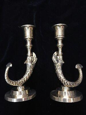 Vintage Koi Fish Dragon Solid Brass Candle holder Pair Candlestick serpent