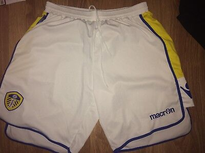 Leeds United 2012-13 Home Macron Mens Xl White Football Shorts (Ex Cond)