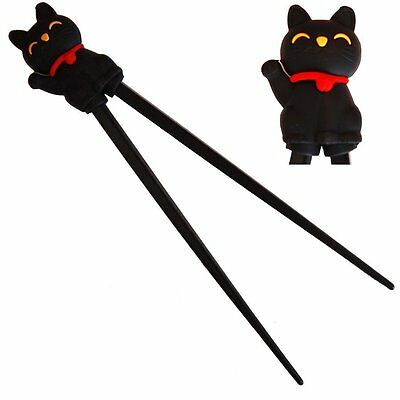 Cute  Kitty Cat Plastic Chopsticks with Silicone Guide/Training Connector