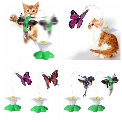 Electric Rotating Butterfly Bird Rod Wire Teaser Fun Play Toy For Pet Cat Kitten