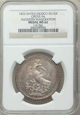 ☆☆ Mexico 1822 Iturbide Proclamation Medal Grove-9a NGC MS62 ☆☆