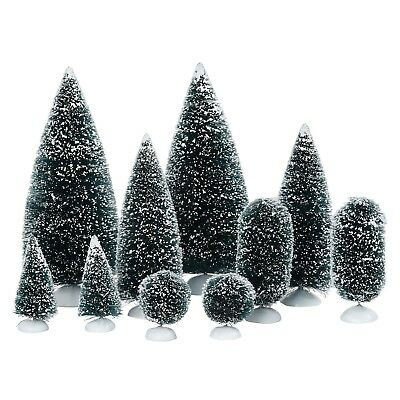 56.52996 Dept 56 Christmas Village Bag of trees O frosted Topiaries 10 pc. NIP