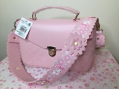Kawaii Japan Sanrio My Melody Pink Leather Belted Sling Two Way Hand Bag Purse