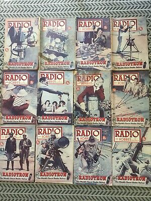 RADIO AND HOBBIES 12 Magazines 1954 Vintage Collectables