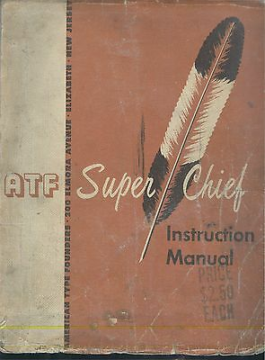 c1960 ATF American Type Founders Super Chief offset print press Instruction Book