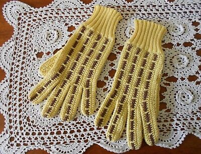 Vintage Women's Knitted Cotton Gloves Lemon & Brown Colour