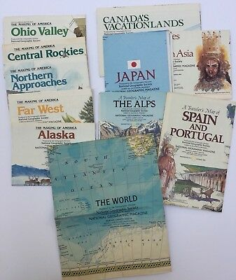 Lot of 11 National Geographic Magazine Maps Vintage 1980's