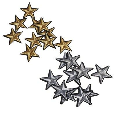 10 Pcs Gold Star Embroidered Badges Iron On Patches Clothing Applique Sticker