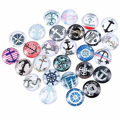 20mm 10 Random Mixed Anchor Compass Glass Cabochons Dome Flat Back Beads Lot
