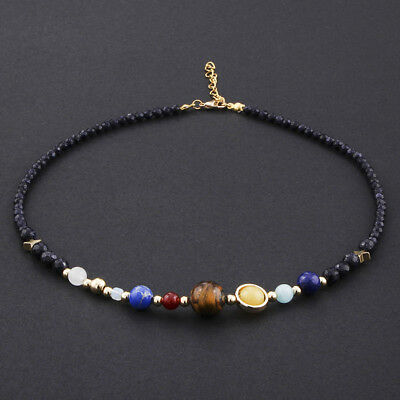 Necklace Eight Planet Of Solar System Natural Stone Beaded Statement Jewelry