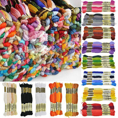 6x Cross Stitch Cotton Sewing Skeins Embroidery Thread Braiding/Craft Sewing Kit