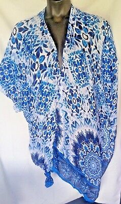 MIXIT Beach Cover Up One Size Fits All Blue White Open Front