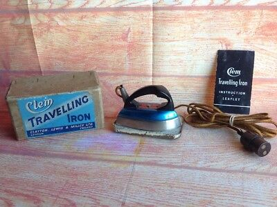 Clem Travelling Iron Vintage Collectors Appliance. Boxed Clayton Lewis Miller