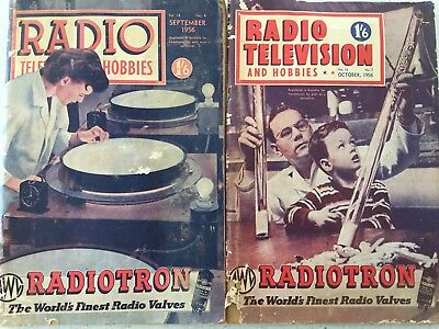 RADIO AND HOBBIES Magazines September & October 1956 Vintage Collectables