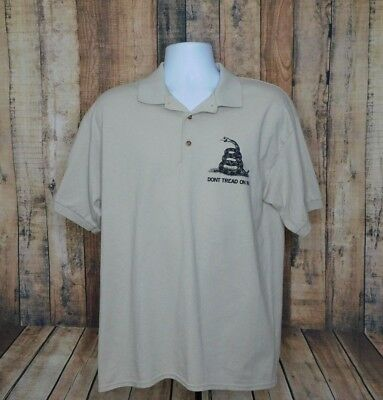 Don T Tread On Me Mens Snake Logo Beige Tan Polo Shirt Short Sleeve