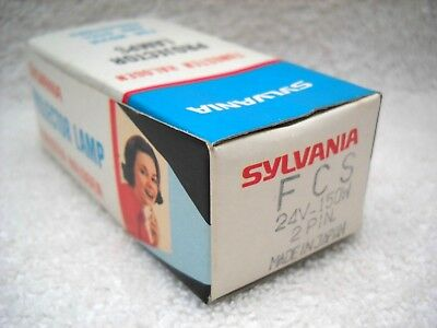 **SYLVANIA FCS 24v 150w 2 PIN PROJECTOR LAMP NOS IN ORIGINAL BOX MADE IN JAPAN**