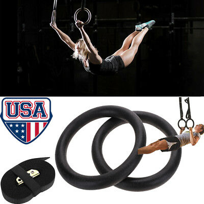 2 X Gymnastic Rings Straps Gym Strength Training Pull Up Dips Fitness W/Strap US