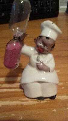 Vintage Pottery Little Baker Boy rare egg timer with glass marked 'K' on base