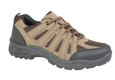Mens Hiking Trail Trek Walking Shoes Trainers Brown