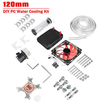 AU PC Water Cooling Kit Computer LED Radiator CPU Block Pump Reservoir Heat Sink