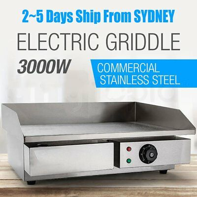 Chef Electric Griddle Grill Hot Plate Stainless Steel Commercial BBQ3000W NSW