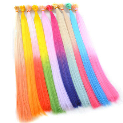 Gradient  Colorful I-Tip Synthetic Grizzly Hair Extensions + Micro Beads